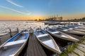 Row of rental boats in a dutch marina Royalty Free Stock Photo