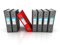 Row of ring binders with one different red folder Royalty Free Stock Photo