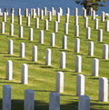 Row upon row of headstones mark the resting place of dead soldiers buried on point loma in the fort rosecrans national military Stock Images