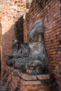 Row of ruin buddha statue in wat chai wattanaram ayutthaya thailand world heritage site Stock Images