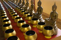 Row of sacrifice bowls  in temple 4. Royalty Free Stock Photos