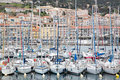 Row of sailboats moored in sete france tightly packed docked the harbor Royalty Free Stock Photography
