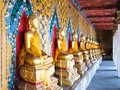 Row of seated Buddhas statue,Wat Arun Royalty Free Stock Photography
