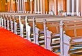 Row of seats in the markt kirche in wiesbaden inside famous a brick building neo gothic style Royalty Free Stock Image
