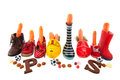 Row shoes with carrots for Dutch Sinterklaas Royalty Free Stock Photo