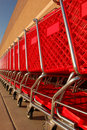 Row of shopping carts Royalty Free Stock Photography