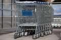 Row shopping trolley supermarket Royalty Free Stock Image