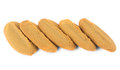 Row of shortbread cookies isolated on white background Royalty Free Stock Images