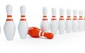 Row skittles bowling on a white background Stock Image