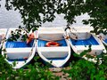 Rental Row Boats Docked on Lake Side, Bucharest, Romania Royalty Free Stock Photo