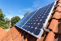 Row of solar panels  on roof Royalty Free Stock Photo