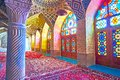 The row of stained glass windows in Pink Mosque of Shiraz, Iran Royalty Free Stock Photo