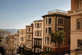 Row of stately houses on hill in san francisco descending Royalty Free Stock Images