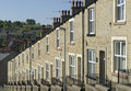 Row stone and slate terraced houses lancashire looking down a of victorian period roof built cottages the were shot in a town Stock Image