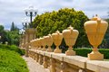 Row of tall urns at stanford university sitting on railing Stock Photos