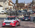 Row of technical teams cars paris nice saint pierre lès nemours france march following the cyclists during the first stage the Royalty Free Stock Images