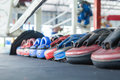 Row of thai Boxing Mitt Training Target Focus Punch Pad Glove on Royalty Free Stock Photo
