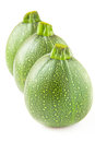 Row of three round green zucchini on white Royalty Free Stock Images
