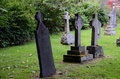 Row tombstones graveyard Stock Photo