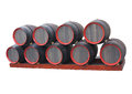 Row of traditional old wooden wine barrels with red circle isola Royalty Free Stock Photo