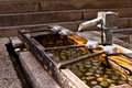 Row of traditional purification dipper at the entrance to a japanese temple Stock Images