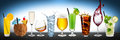 Row of various beverages drinks on blue background Stock Photos