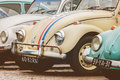 Row of vintage Volkswagen Beetles from the seventies Royalty Free Stock Photo