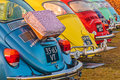 Row of vintage volkswagen beetles from the seventies rosmalen netherlands january in rosmalen netherlands Royalty Free Stock Images