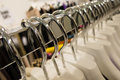 Row white clothes hangers Royalty Free Stock Photography