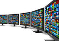 Row of widescreen HD displays wtih multiple images Royalty Free Stock Photo