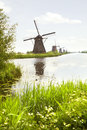 Row of windmills in Kinderdijk, the Netherlands Royalty Free Stock Photography