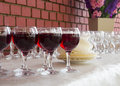 Row of wine glasses Royalty Free Stock Photo