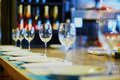 Row of wine glasses on the table Royalty Free Stock Photo