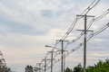Row of wire electric pole Royalty Free Stock Photo