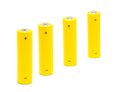 Row yellow aa size batteries white background Stock Photo