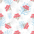 Rowanberry branch seamless pattern vector background winter holidays light trees silhouettes without foliage and snow Stock Photo