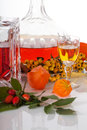 Rowanberry homemade liquer liquor in carafe and glass with it Royalty Free Stock Photography