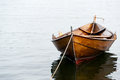 Rowboat in oslo old wooden row boat on water Stock Image