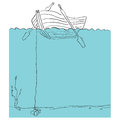 Rowboat view from under the water vector drawn by hand Royalty Free Stock Photo