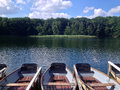Rowboats at summer lake moored a forest in Royalty Free Stock Photo