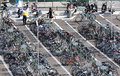 Rowed bicycle park and ride parking tokyo japan august crowded near rail station on august is the most popular ecological Royalty Free Stock Photo