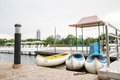 Rowing boat in lake on queen sitikit national convention center bangkok thailand Royalty Free Stock Image