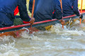 Rowing boat men teams at in river Royalty Free Stock Images