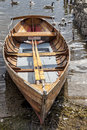 Rowing boat on shore of Derwent Water, Keswick. Royalty Free Stock Photo
