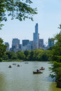 Rowing boats Central Park lake Royalty Free Stock Photo
