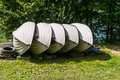 Rowing boats located on the shores of lake solina in poland Stock Photo