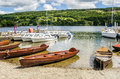 Rowing Boats on the Shore of a Lake Royalty Free Stock Photo