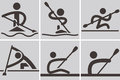 Rowing and canoeing summer sports icons icons Stock Images