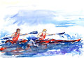 Rowing crew, two athletes in canoe, splashed water background