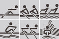 Rowing icons summer sports set Royalty Free Stock Photo